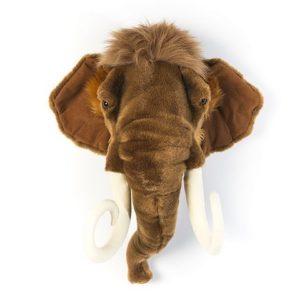Dierenkop Mammoet Wild & Soft aan de muur kinderkamer babykamer aan de muur hip