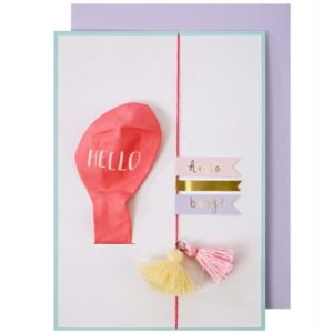 Kaart Roze Ballon meisje geboorte kraamcadeau Meri Meri