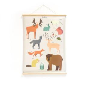 Wandplaat Bosdieren decoratie kinderkamer babykamer