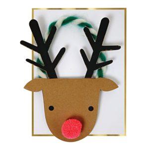 Kaart Kerst Rendier Pom-Pom Neus 420061 Reindeer with pom-pom nose card Meri Meri