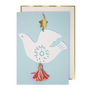 Kaart Witte Duif 420062 White dove ornament card Meri Meri