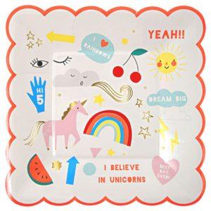 Bordjes Rainbow 45-2169 Rainbow Rainbow & unicorn small plates Meri Meri