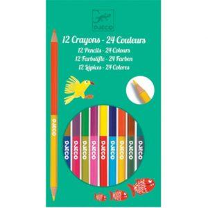 djeco-12-dubbele-kleurpotloden-dj09758-Wijs West knutselen kleuren