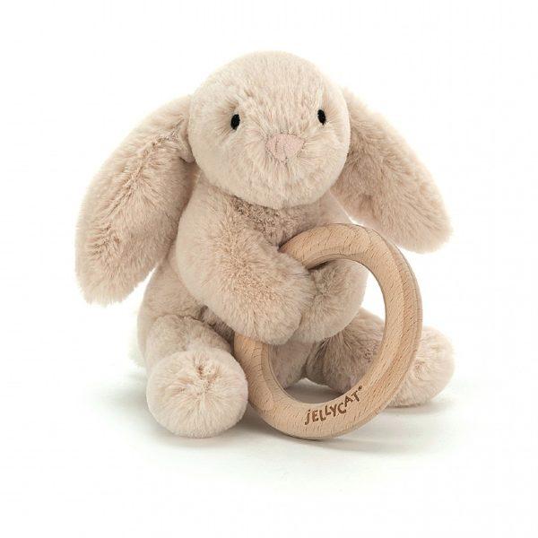 jelly cat wijs west wijswest online shoppen winkel amsterdam speelgoed Jellycat SHO4WB Spelen 670983117462 Jellycat Shooshu Bunny Wooden Ring Toy