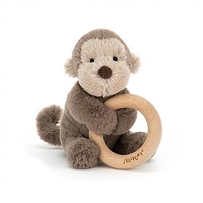 jelly cat wijs west wijswest online shoppen winkel amsterdam speelgoed Jellycat SHO4WM Spelen 670983117301 Jellycat  Shooshu Monkey Wooden Ring Toy