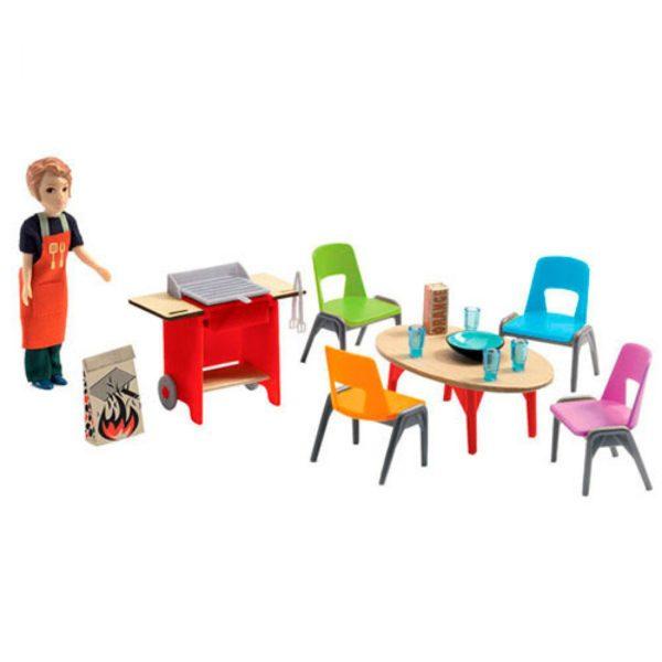 djeco wijs west wijswest online shoppen winkel amsterdam speelgoed Djeco DJ07829 Spelen 3070900078291 Djeco Poppenhuis Barbecue & accessoires