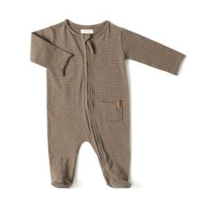 Wijs west Nixnut Nixnut Zipp Onesie Olive Stripe  AW20 Nixnut Kleding & Accessoires Baby Rompers