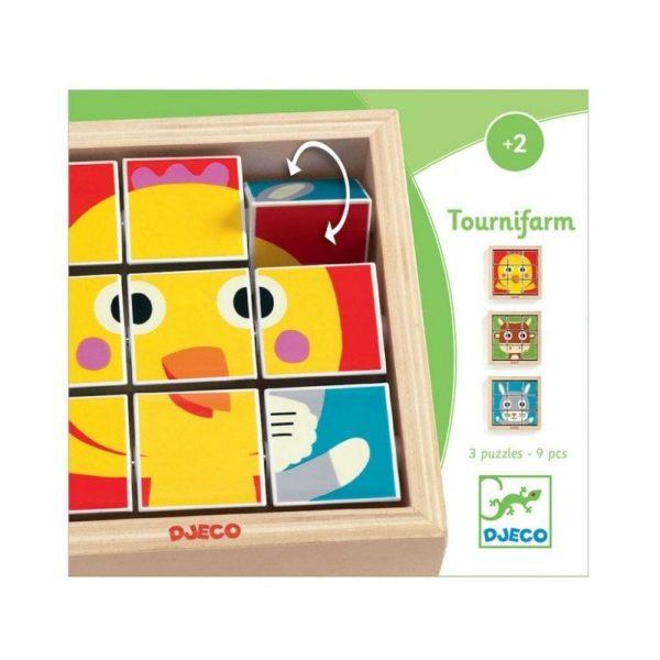 Wijs west Djeco Djeco Mini Draai Puzzel Tournafemme DJ01954 Djeco: Tournifarmvan Djeco is een leuk draai- en puzzelspel waarbij je 9 puzzeldriehoekjes kunt draaien zodat je een afbeelding van eenkip