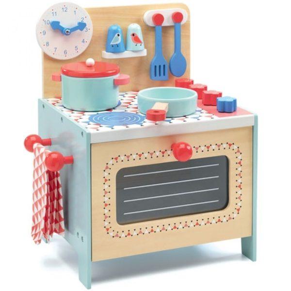 Wijs west Djeco Djeco Kinderkeuken  DJ06507 Djeco: Houten Speelgoedkeuken Leo. Kook en bak nu zelf je lievelings gerechten in je eigen keukentje! Met een oven en spoelbak