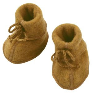 Engel Baby Bootees with ribbon Saffron Melange