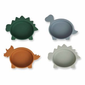 Iggy silicone bowls - 4 pack - 6943 Dino blue multi mix - Extra 0