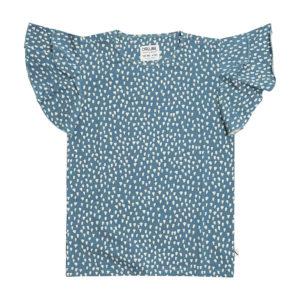 Wijs west CarlijnQ CarlijnQ Petrol Sparkles  - Ruffled T-Shirt 8720289680220 SS21 CarlijnQ Kleding & Accessoires Shirts T-shirts
