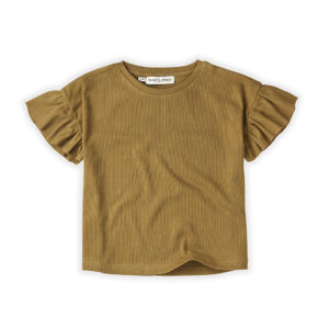 Wijs west Sproet & Sprout Sproet & Sprout T-Shirt Rib Ruffle Camel 1138187050934 SS21 Sproet Kleding & Accessoires Shirts T-shirts