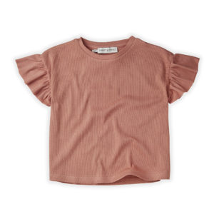 Wijs west Sproet & Sprout Sproet & Sprout T-Shirt Rib Ruffle Rose 1138187051047 SS21 Sproet Kleding & Accessoires Shirts T-shirts