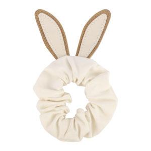 Wijs west Donsje  Donsje Polly Hair Scrunchie | Bunny Taupe Nubuck 8719549207567 SS21 Donsje Kleding & Accessoires Accessoires Haarbanden & Speldjes