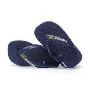 Wijs west Havaianas Havaianas Baby Brasil Logo Marine/Yellow Citric Havaianas Kleding & Accessoires Schoenen Sandalen