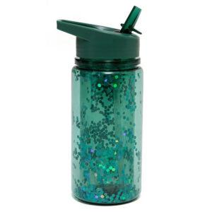 Drinking bottle glitter salie green