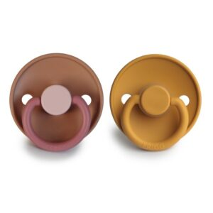 FRIGG 2-pack Color Silicone Spenen - Flamingo/Honey Gold T2