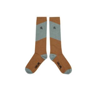Wijs west CarlijnQ CarlijnQ Knee Socks - Diagonal Brown/Blue 8720528504386 AW21Carlijn Kleding & Accessoires Sokken & Maillots