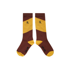 Wijs west CarlijnQ CarlijnQ Knee Socks - Diagonal Brown/Yellow 8720528504331 AW21Carlijn Kleding & Accessoires Sokken & Maillots