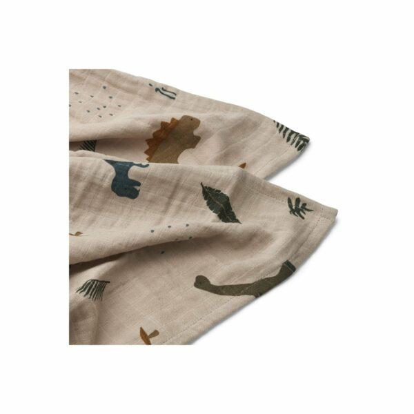 Liewood Muslin cloth & swaddle Dino dark sandy mix