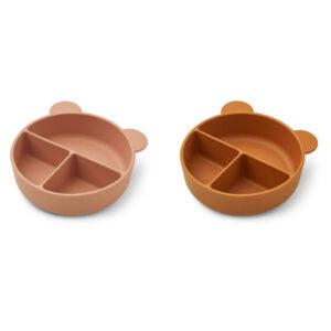 Liewood Connie divider bowl 2-pack Dark rose/mustard mix